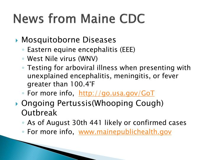 News from Maine CDC