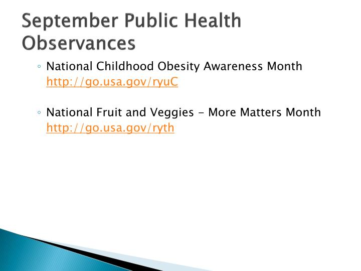 September Public Health Observances