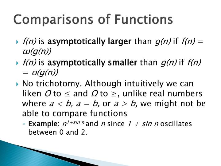 Comparisons of Functions