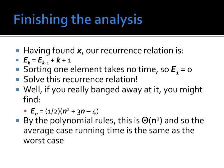 Finishing the analysis