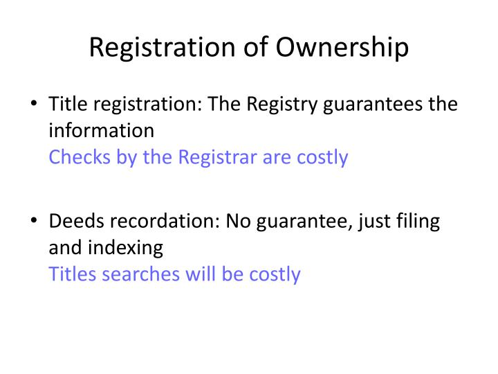 Registration of Ownership