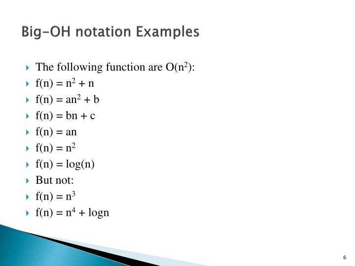 Big-OH notation Examples