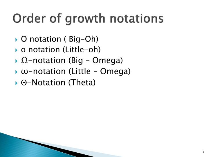 Order of growth notations