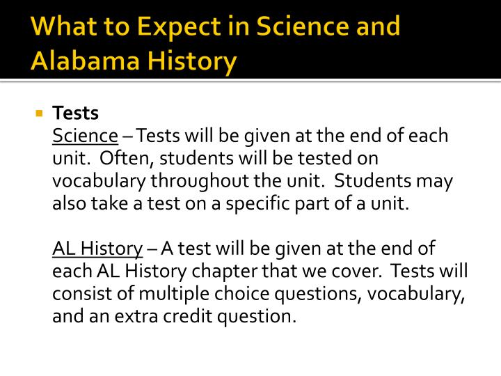 What to Expect in Science and Alabama History