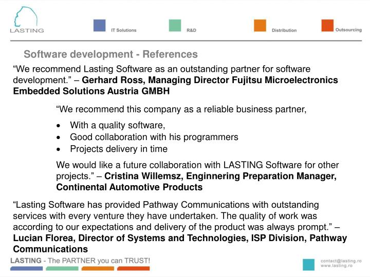 Software development - References