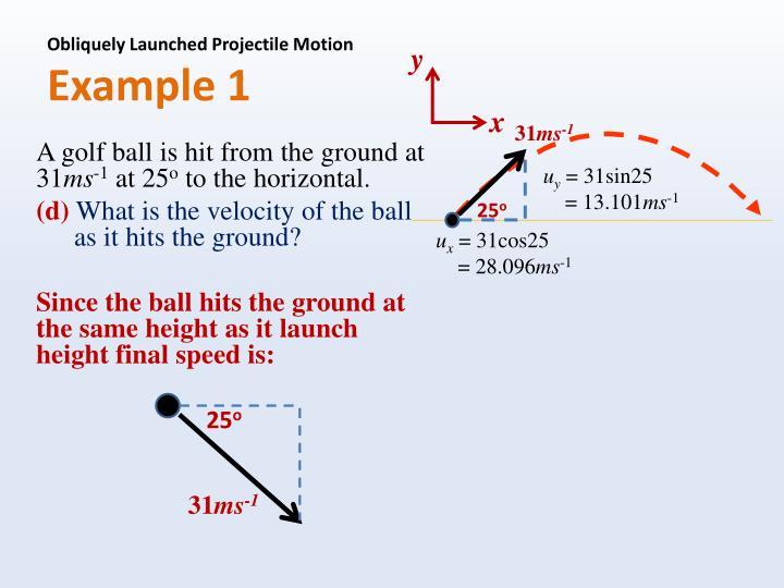 Obliquely Launched Projectile Motion