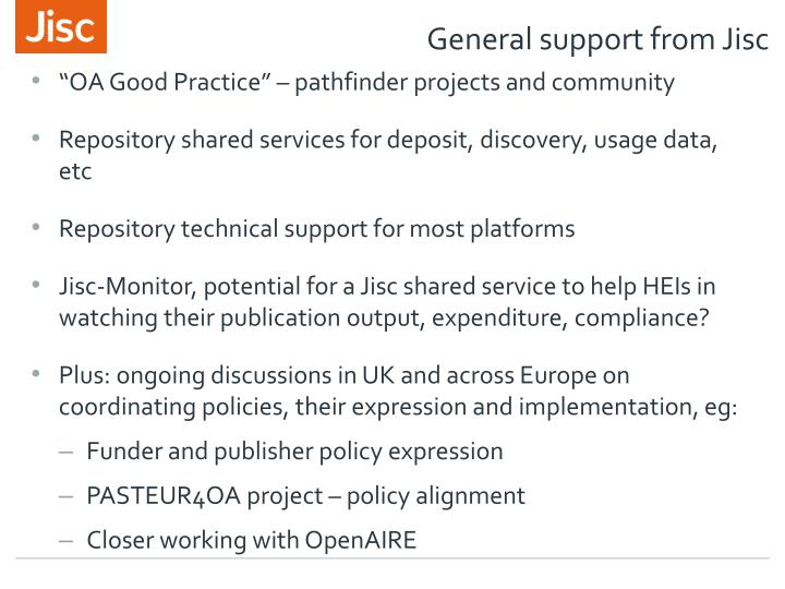 General support from Jisc
