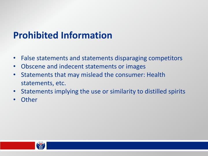 Prohibited Information