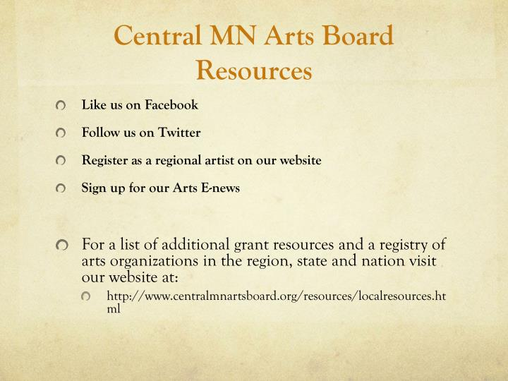 Central MN Arts Board Resources