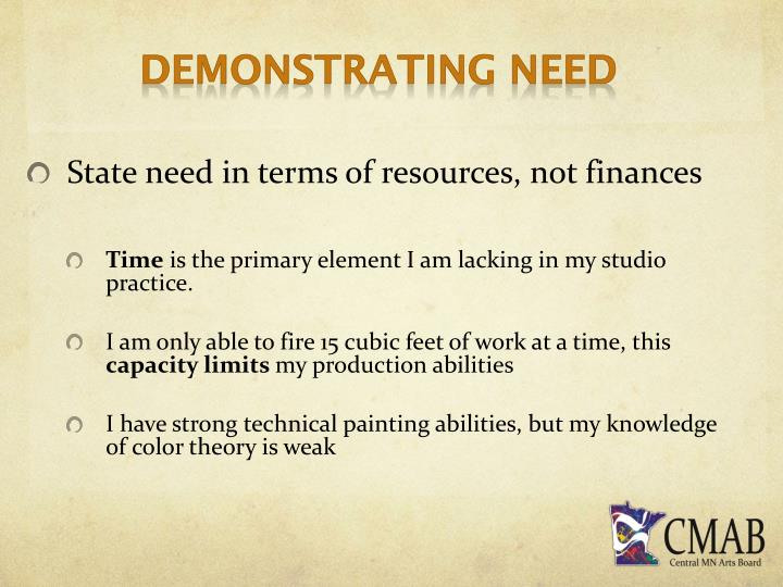 Demonstrating Need