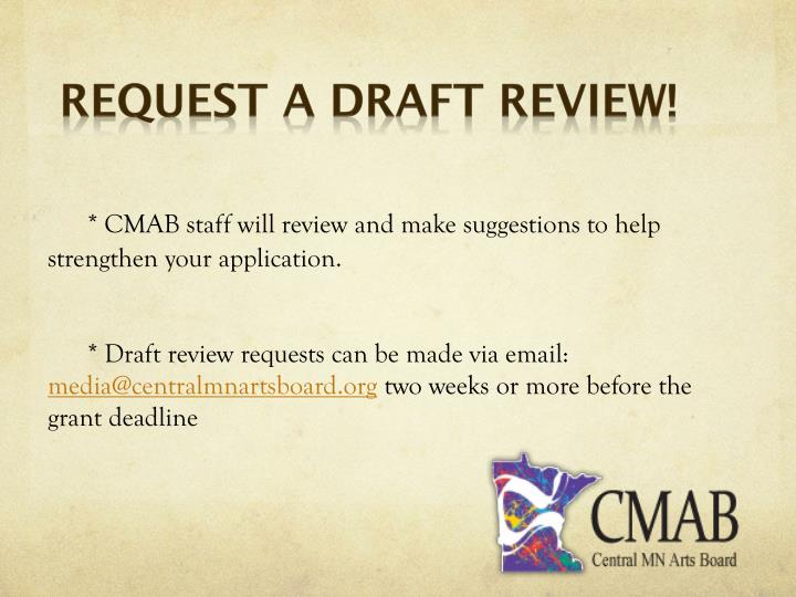 Request a Draft Review!