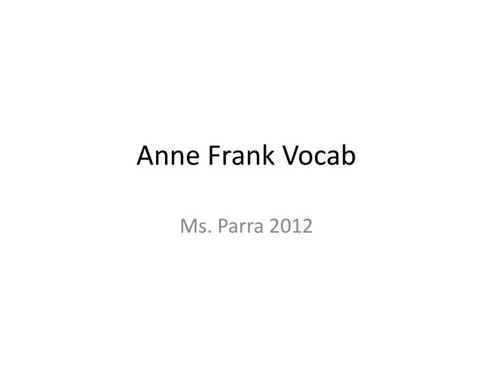 Anne Frank Vocab