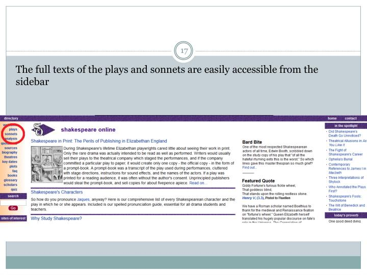 The full texts of the plays and sonnets are easily accessible from the sidebar