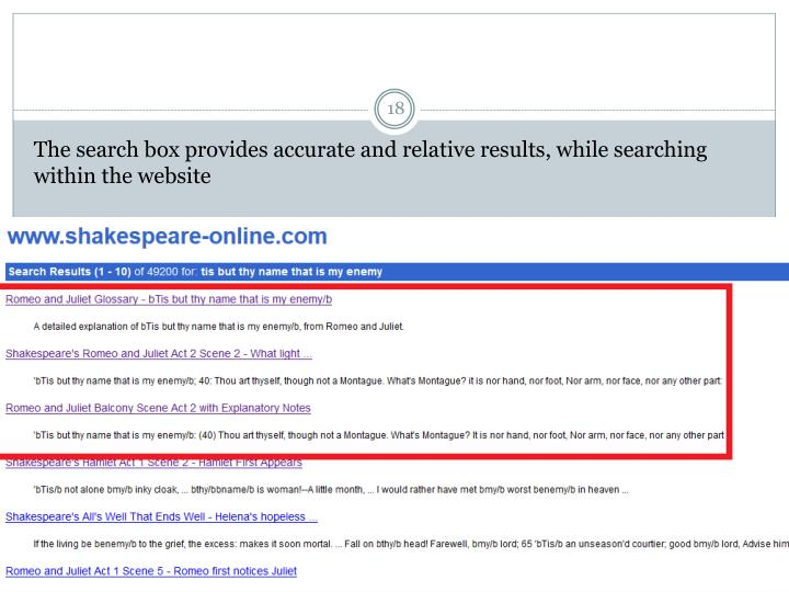 The search box provides accurate and relative results, while searching within the