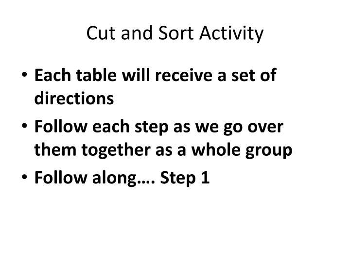 Cut and Sort Activity