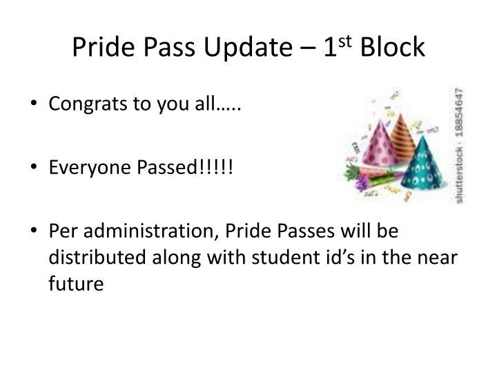 Pride Pass Update – 1