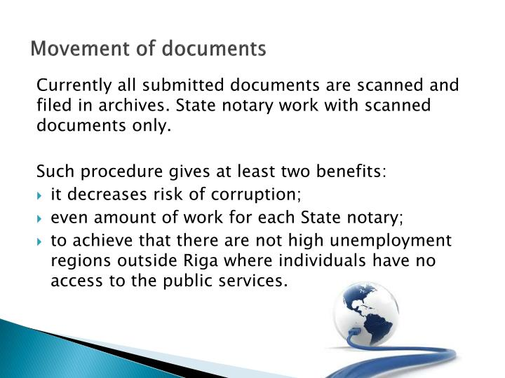 Movement of documents
