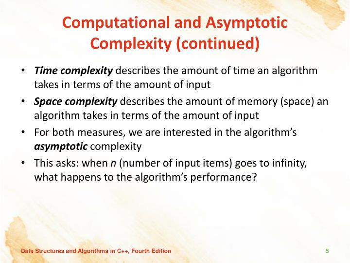 Computational and Asymptotic Complexity (continued)