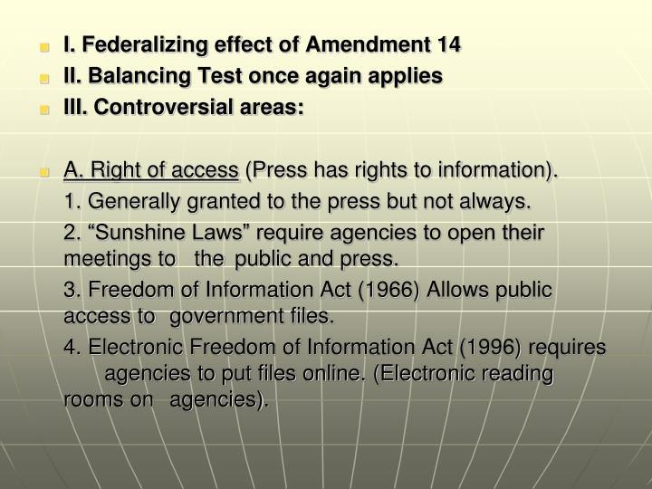 I. Federalizing effect of Amendment 14