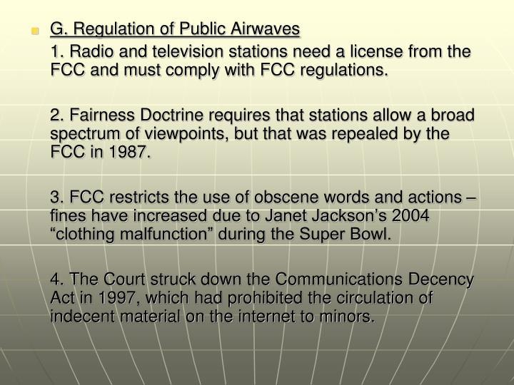 G. Regulation of Public Airwaves