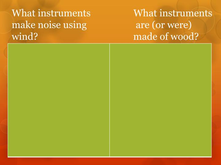 What instruments what instruments make noise using are or were wind made of wood
