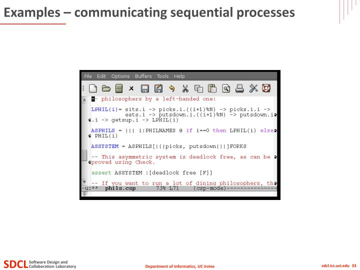 Examples – communicating sequential processes
