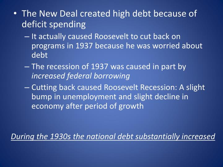 The New Deal created high debt because of deficit spending