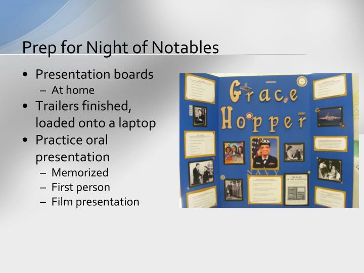 Prep for Night of Notables