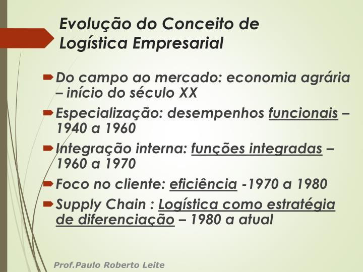 Evolução do Conceito de Logística Empresarial