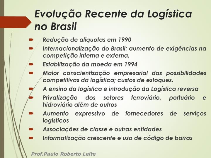 Evolução Recente da Logística no Brasil