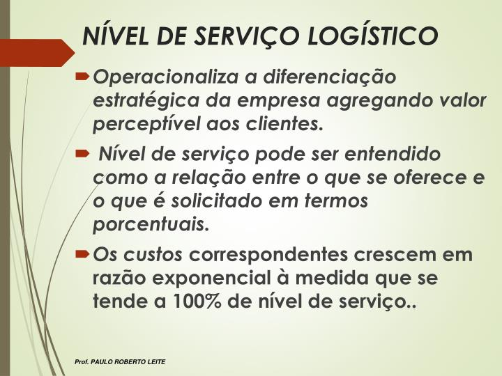 NÍVEL DE SERVIÇO LOGÍSTICO