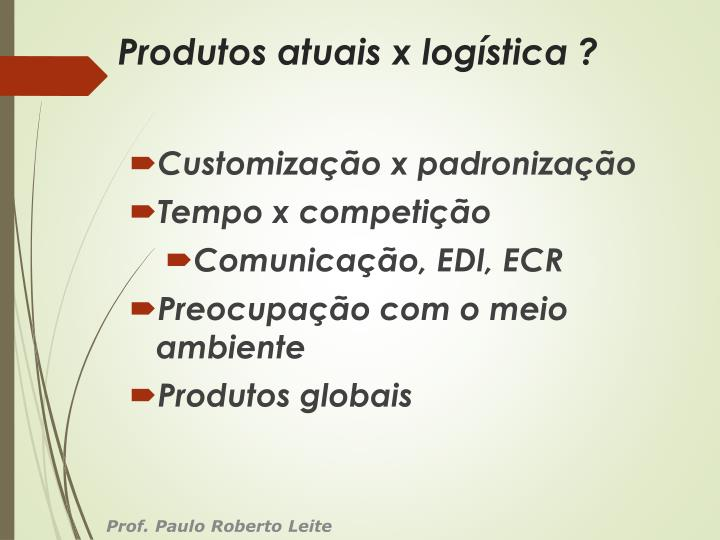 Produtos atuais x logística ?