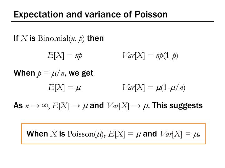 Expectation and variance of Poisson