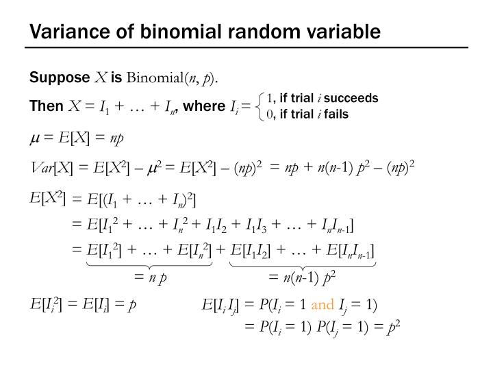 Variance of binomial random variable