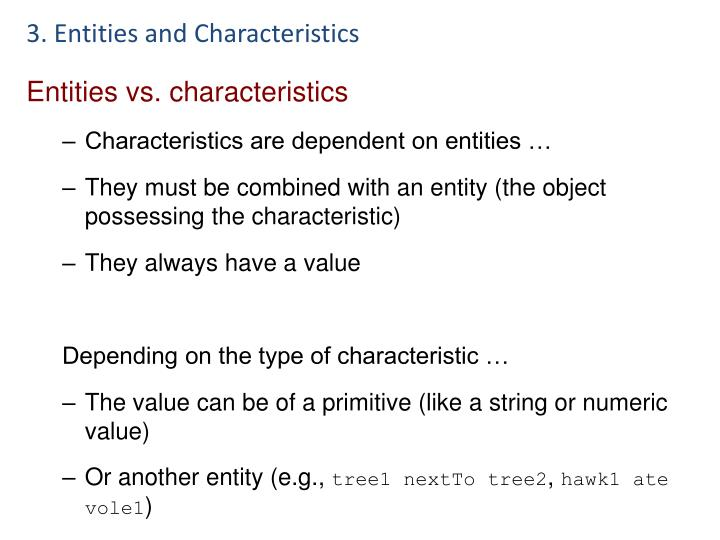 3. Entities and Characteristics