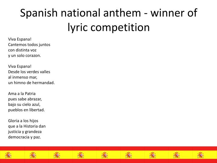 S panish national anthem winner of lyric competition