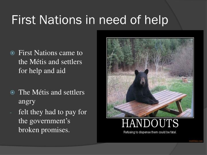 First Nations in need of help