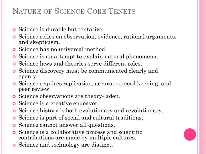 Nature of Science Core Tenets