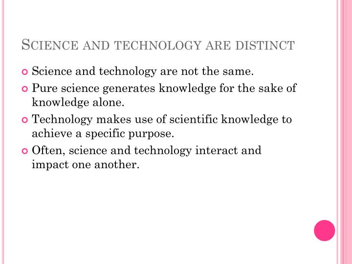 Science and technology are distinct