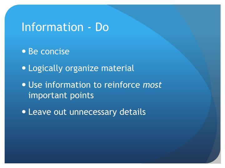 Information - Do