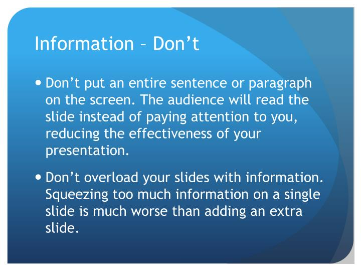 Information – Don't