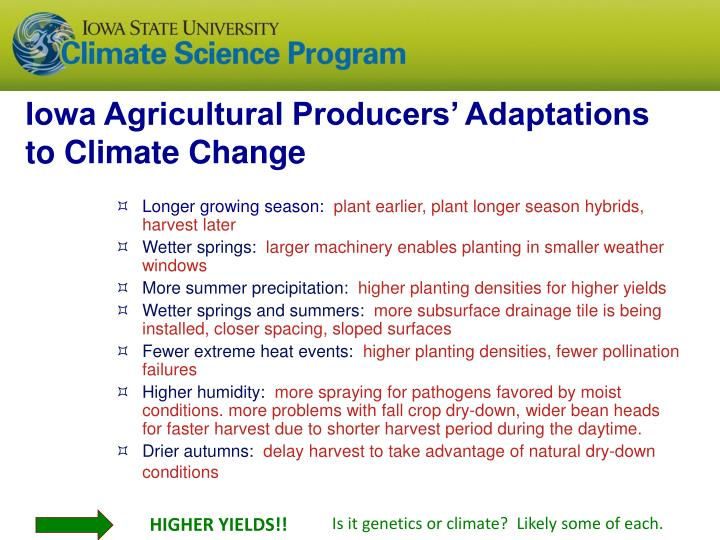 Iowa Agricultural Producers' Adaptations to Climate Change