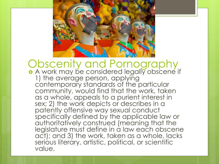 Obscenity and Pornography