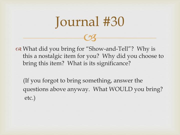 Journal #30