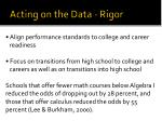 acting on the data rigor
