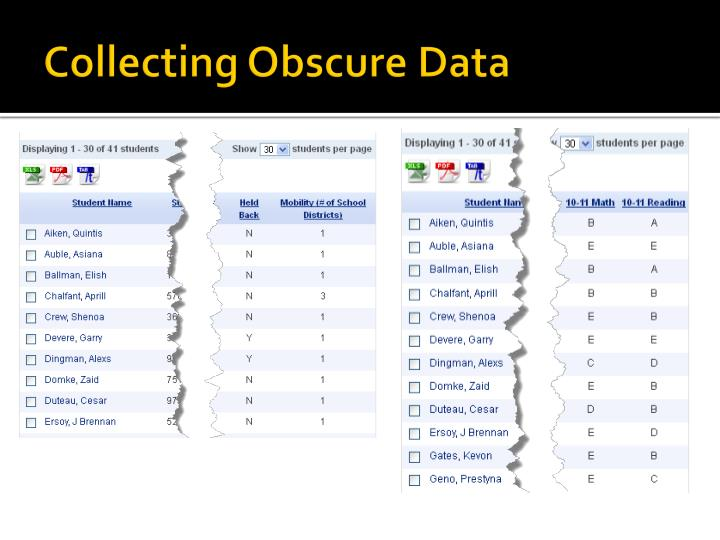 Collecting Obscure Data