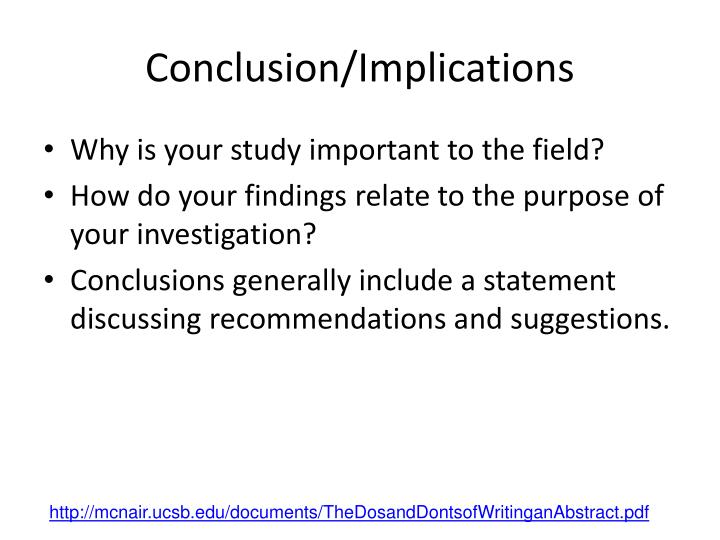 Conclusion/Implications