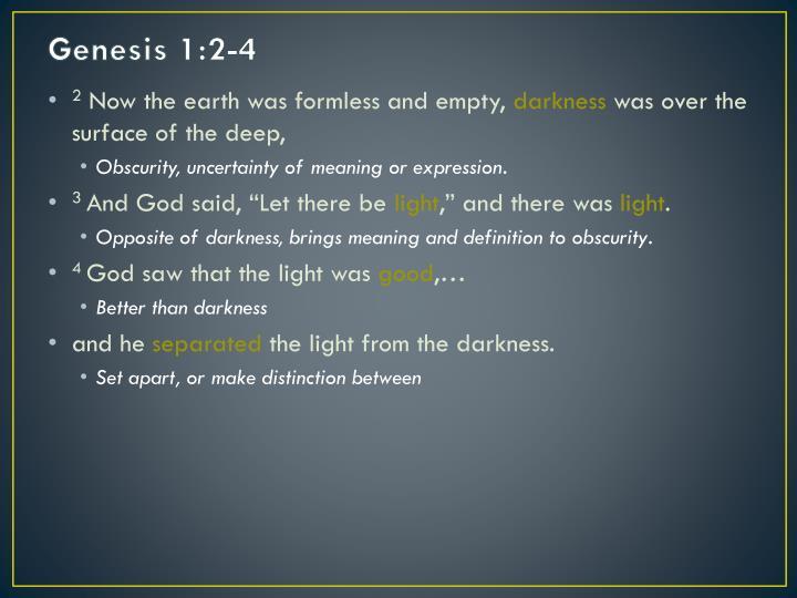 Genesis 1:2-4