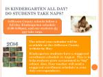 is kindergarten all day do students take naps