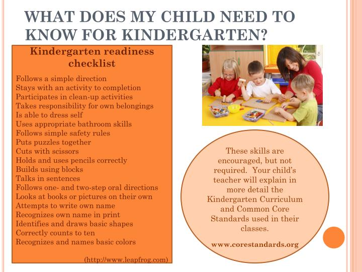 WHAT DOES MY CHILD NEED TO KNOW FOR KINDERGARTEN?